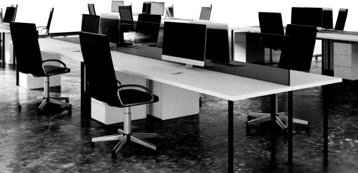 机と椅子が並ぶ人がいないオフィス
