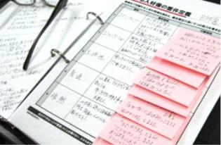 メモを書いた付箋が複数枚貼られた適性検査・能力診断の紙